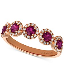 Passion Ruby (5/8 ct. t.w.) & Vanilla Diamond (1/5 ct. t.w.) Halo Ring in 14k Rose Gold