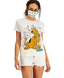 Juniors' Scooby-Doo Graphic-Print T-Shirt & Face Mask