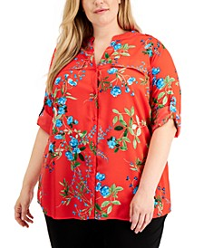Plus Size Floral-Print Roll-Tab-Sleeves Top