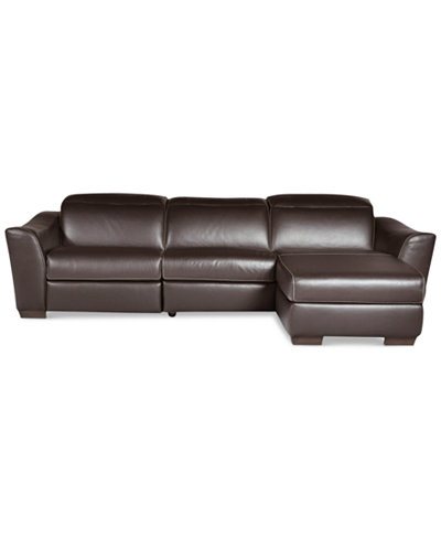 Alessandro 3 piece leather sectional with chaise 1 power for 5 piece sectional sofa with chaise