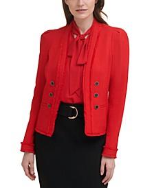 X-Fit Fringe-Trimmed Button-Front Tweed Jacket