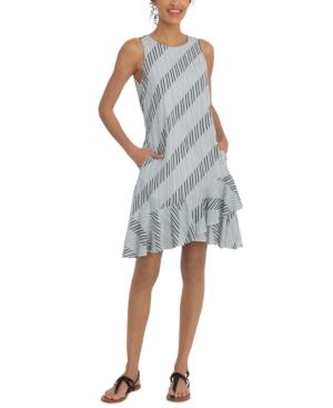 Plus Size Ruffled-Hem Printed A-Line Dress