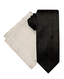 Men's Connecting Tonal Medallions Tie and Pocket Square Set