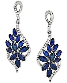 Sapphire (3-1/5 ct. t.w.) & Diamond (1/4 ct. t.w.) Floral Cluster Drop Earrings in 14k Rose Gold (Also in Ruby & Emerald)