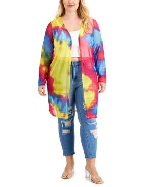 Trendy Plus Size Tie-Dyed Duster