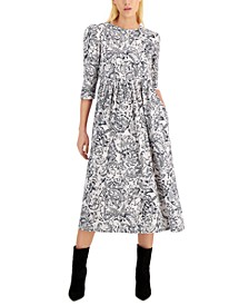 Rane Cotton Printed Puff-Shoulder Dress