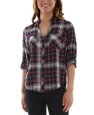 Juniors' Plaid Split-Back Shirt