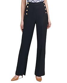 Button-Detail Pants