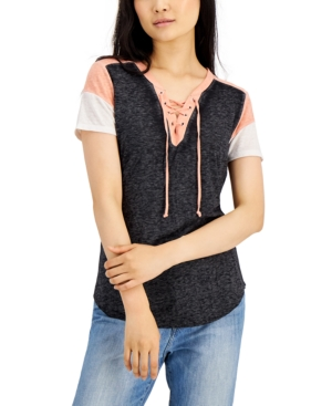Juniors' Lace-Up Burn-Out Top
