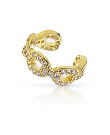 Pave Cubic Zirconia Chain Link Ear Cuff
