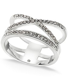 Silver Plated Pavé X-Bar Ring, Created for Macy's