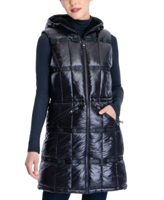 마이클 마이클 코어스 패딩 조끼 Michael Michael Kors Hooded Fleece-Lined Vest,Black
