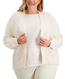 Plus Size Volume-Sleeve Chunky-Stitch Cardigan, Created for Macy's