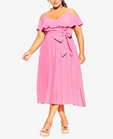 Plus Size Flutter Sleeve Tie Waist Dress