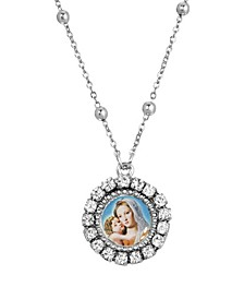Silver-Tone Round Mother and Child Necklace