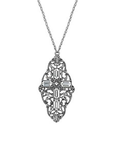 Pewter Crystal Cross Necklace