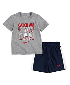 Toddler Boys Americana Catch Me If You Can Short Sleeve Short Set, 2piece
