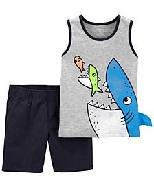 Toddler Boys Shark Jersey Tank and Canvas Short, 2 Piece Set