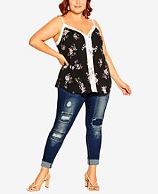 Plus Size Cami Spliced Floral Top