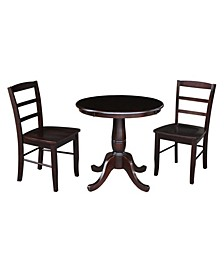 """30"""" Round Top Pedestal Dining Table with 2 Madrid Ladderback Chairs, 3 Piece Dining Set"""