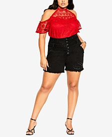 Trendy Plus Size Corset-Waist Denim Shorts