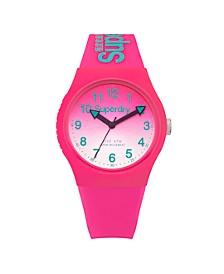 Unisex 3 Hands Pink Silicon Strap Watch 38mm