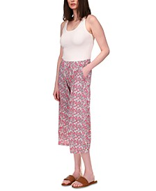 Floral-Printed Lace-Up Pants