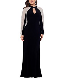 Plus Size Embellished Jersey Gown