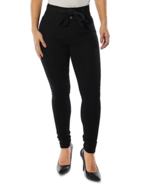 Juniors' Belted High-Rise Skinny Jeans