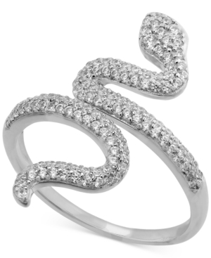 Cubic Zirconia Snake Ring in Sterling Silver