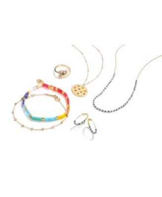 Crystal Rainbow, Star, Moon & Lightening Statement Necklace in Gold-Flash, 16