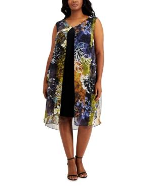 Plus Size Printed Chiffon Overlay Dress