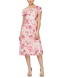 Floral-Print Keyhole-Back Lace Midi Dress