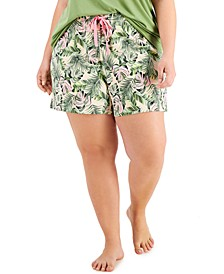 Plus Size Printed Knit Pajama Shorts, Created for Macy's