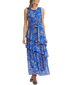 Floral-Print Sleeveless Tiered Tie-Waist Maxi Dress
