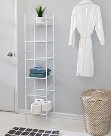 6-Tier White Bathroom Storage Shelving Unit