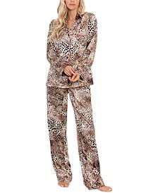 Animal-Print Satin Pajama Set