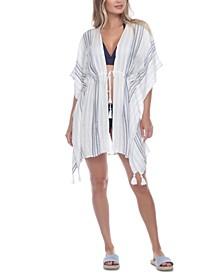 Striped Tassel Trim Cover-Up Dress