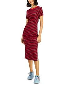 Ribbed Stripe Midi Dress