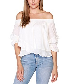 Black Label Petite Off-The-Shoulder Ruffle Top with Blouson Sleeves