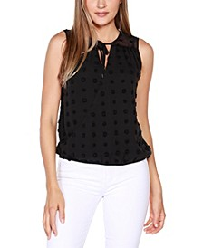 Black Label Petite Sleeveless Clip-Dot Wrap-Front Top with Ruffle and Neck Tie Detail