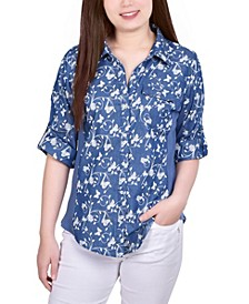 Women's 3/4 Sleeve Roll Tap Denim with Rib Insets Blouse