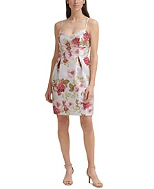 Pleated Floral-Print A-Line Dress