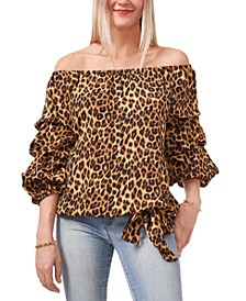 Leopard-Print Off-The-Shoulder Tie-Front Balloon-Sleeve Blouse