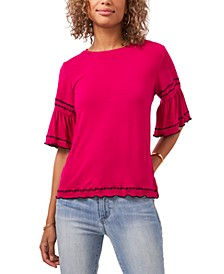 Ruffled Embroidered-Trim Top