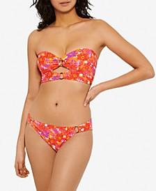 Juniors' Bold Bouquet Printed Cutout Bikini Top & Ring Bikini Bottoms, Created For Macy's
