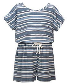 Big Girls Short Sleeved Stripe Knit Romper