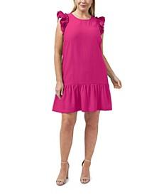 Plus Size Flutter Sleeve Ruffled Dress