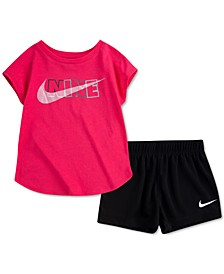 Baby Girls 2-Pc. Match Back Top & Mesh Shorts Set
