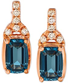 Deep Sea Blue Topaz (1-1/6 ct. t.w.) & Nude Diamonds (1/10 ct. t.w.) Stud Earrings